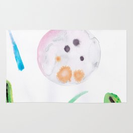 Cucumber Planet's full Moon-Water color art Rug