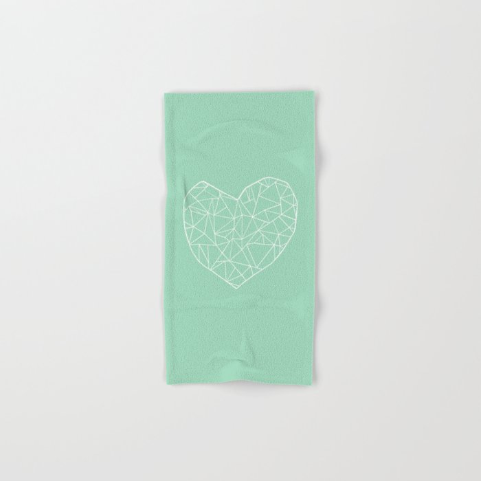 Abstract Heart Mint Hand & Bath Towel
