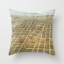 Vintage Pictorial Map of Champaign IL (1869) Throw Pillow