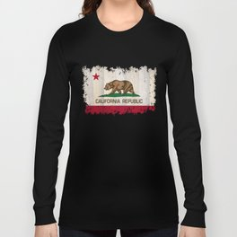 California Republic state Bear flag on wood Long Sleeve T-shirt