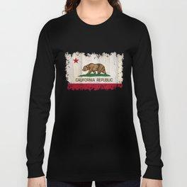 California Republic state Bear flag on wood Long Sleeve T-shirt