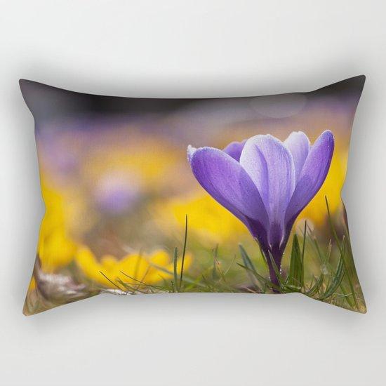 Crocus in a meadow Rectangular Pillow