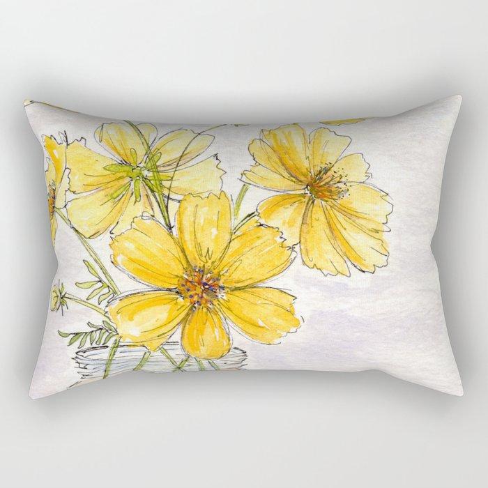 Yellow Cosmos, Still Life Rectangular Pillow