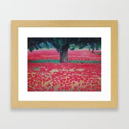 Olive Tree in Poppy Field Framed Art Print