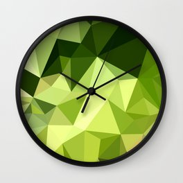 Electric Lime Green Abstract Low Polygon Background Wall Clock