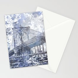 Brooklyn Bridge New York USA Watercolor blue Illustration Stationery Cards