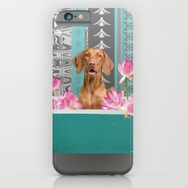 Bathtub with Weimaraner and Lotus Flowers iPhone Case