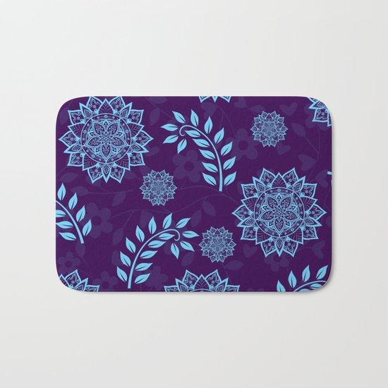 Mandalas & Leaves Pattern Blue Purple Bath Mat