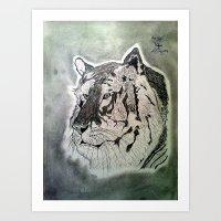 BLACK AND WHITE TIGER DRAWING Art Print
