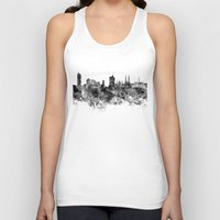 vienna Tank Tops featuring Vienna skyline in black watercolor by Paulrommer