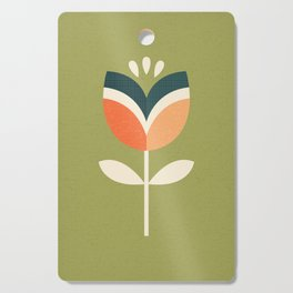 RETRO TULIP - ORANGE AND OLIVE GREEN Cutting Board