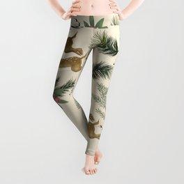 winter deer // repeat pattern Leggings
