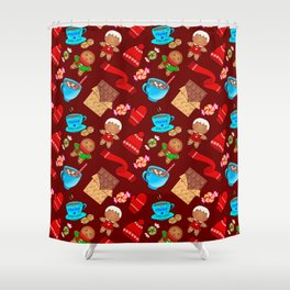 Cute winter Christmas seamless pattern. Hot cocoa, chocolate, candy, mittens, scarf, gingerbread men Shower Curtain