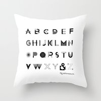 font Throw Pillows featuring Modernissimo Font by Resistenza
