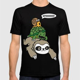 Sloth, Turtle and Snail Piggyback Funny Running Wild T-shirt