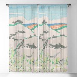 To the beach -Minimalist Landscape Sheer Curtain