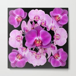 Modern  Ornate Pink & Purple  Moth Orchids Black Colored Art Metal Print