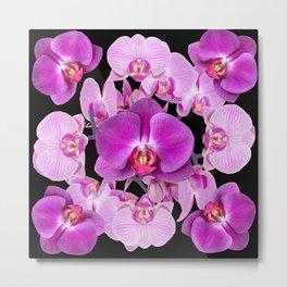 Modern  Ornate Pink & Purple  Moth Orchids Black Colored Art Metal Print