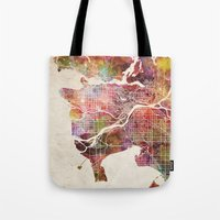 vancouver Tote Bags featuring Vancouver by MapMapMaps.Watercolors