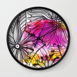 bright pink flowers Wall Clock