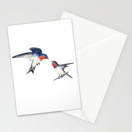 Swallow mother and baby Stationery Cards