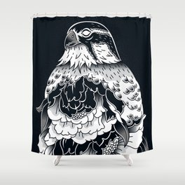 Hawk and peonies (Black) Shower Curtain