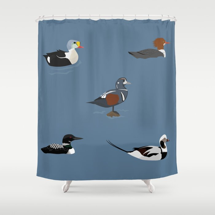 Ducks And A Loon Shower Curtain By Renatagrieco