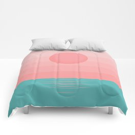 Minimalist Sunrise - Turquoise and Tropical Pink Comforters