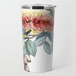 Floral Christmas Wreath, Illustration Travel Mug