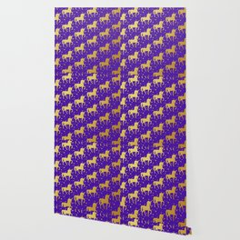 Purple and Gold Unicorn and Stars Pattern Wallpaper