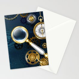 Steampunk blue background with magnifier Stationery Cards