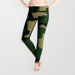 Camouflage Splinter Pattern Green Barret Leggings