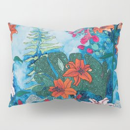 Blue Jungle of Orange Lily and Pink Trumpet Vine Floral Pillow Sham