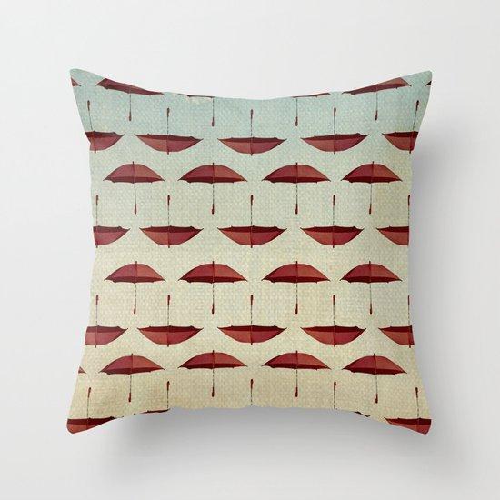 raining umbrellas pattern Throw Pillow