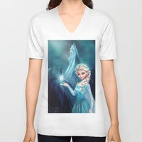 frozen elsa V-neck T-shirts featuring Elsa Frozen by Niniel