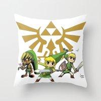 the legend of zelda Throw Pillows featuring The Legend of Zelda by jorgeink