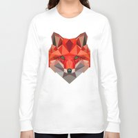 low poly Long Sleeve T-shirts featuring Low poly Fox by exya