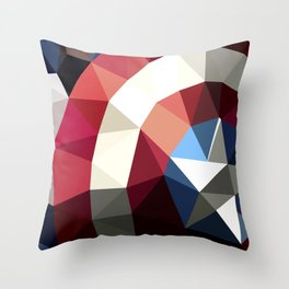 Polygon Heroes - Captain America Throw Pillow