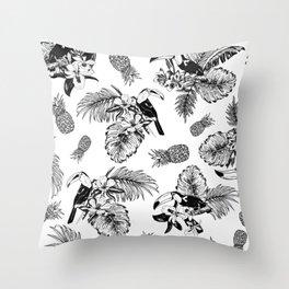 Tropical Pattern B&W Throw Pillow