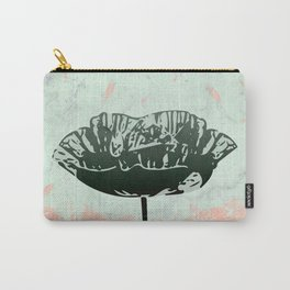 Beautiful Poppy Flower on Marble Design Carry-All Pouch
