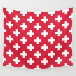 Red Plus Sign Pattern Wall Tapestry