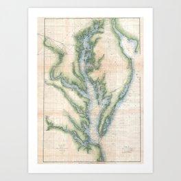 Vintage Map of The Chesapeake Bay (1873) Art Print