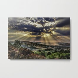 Landscape photograph of, Sunshine over Hope valley, Peak District, U.K. Metal Print
