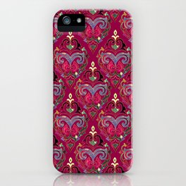 Persian Floral pattern  with painted texture and gold iPhone Case