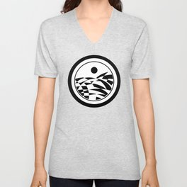 Sea in Black and White 3 - On White Background and in Black and White Frame  Unisex V-Neck