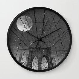 Blood Moon over Brooklyn Bridge and New York City Wall Clock