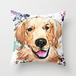 Golden Retriever Painted Art Design Throw Pillow