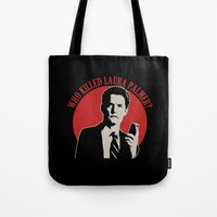 laura palmer Tote Bags featuring Who killed Laura Palmer twin peaks v2 by Buby87