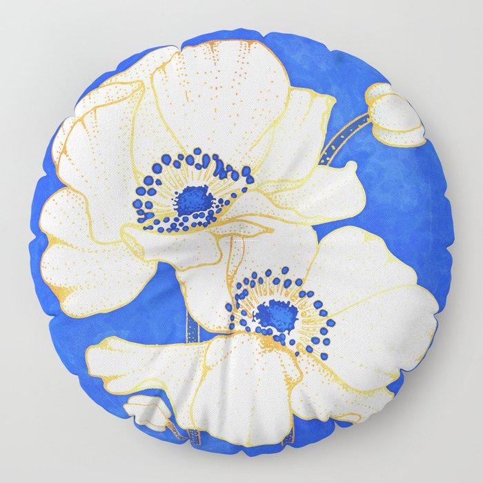 Ultramarine Blue :: Anemones Floor Pillow