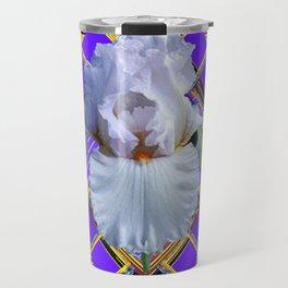 ART DECO WHITE IRIS PURPLE ART Travel Mug